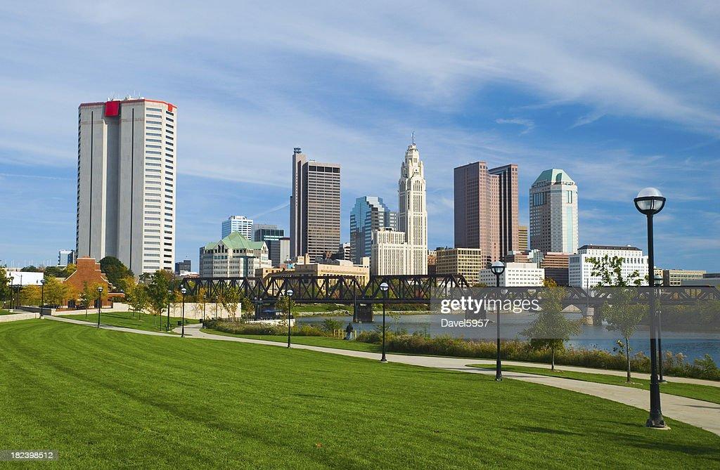 'Columbus downtown, river, bridge, and park'