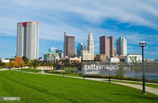 Columbus downtown, river, bridge, and park