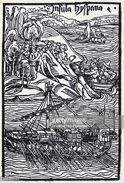 Columbus landing on Hispaniola From a woodcut of 1494