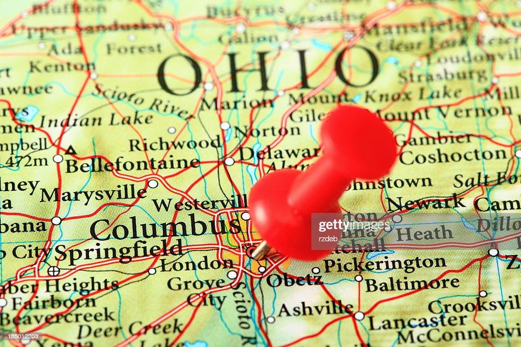 Columbus Map Ohio Usa Stock Photo Getty Images - Map usa ohio