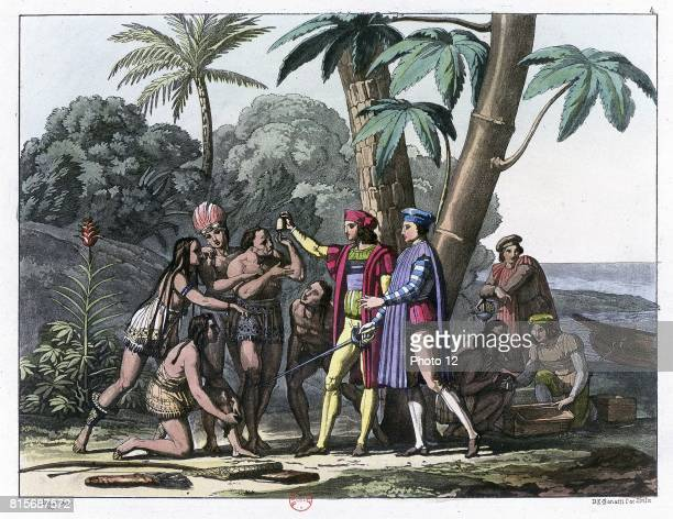 Columbus presenting gifts to the first natives to greet him on his landing in the New World 1492 Coloured lithograph 1827