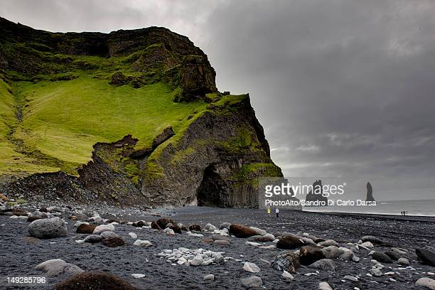 Columnar basalt cave and black sand, Vik Beach, Vik, Iceland