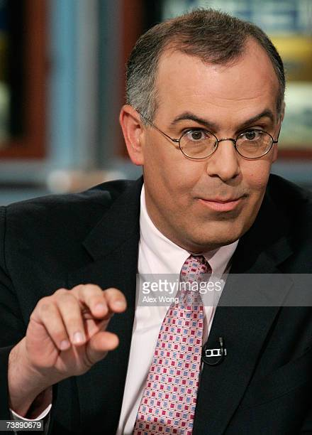 Columnist David Brooks of New York Times speaks during a taping of 'Meet the Press' at the NBC Studios April 15 2007 in Washington DC Brooks spoke on...