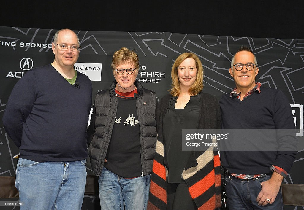 Columnist Sean P. Means, Sundance Institute President and Founder <a gi-track='captionPersonalityLinkClicked' href=/galleries/search?phrase=Robert+Redford&family=editorial&specificpeople=202897 ng-click='$event.stopPropagation()'>Robert Redford</a>, Executive Director <a gi-track='captionPersonalityLinkClicked' href=/galleries/search?phrase=Keri+Putnam&family=editorial&specificpeople=226879 ng-click='$event.stopPropagation()'>Keri Putnam</a> and Director of the Sundance Film Festival John Cooper attend the Day 1 Press Conference during the 2013 Sundance Film Festival at the Egyptian Theatre on January 17, 2013 in Park City, Utah.
