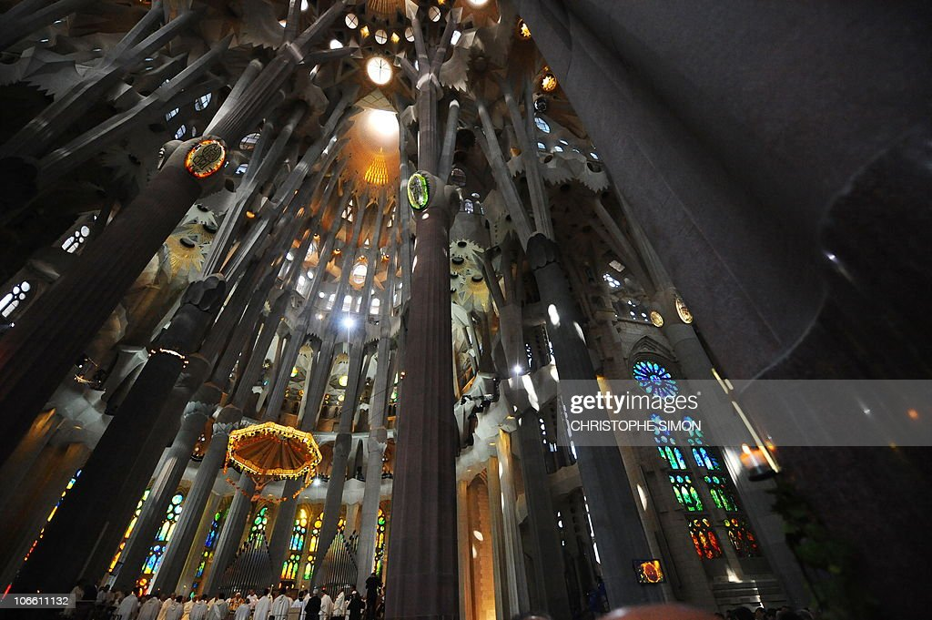 Columns and arches of the Sagrada Familia are seen during a solemn mass celebrated by the Pope Benedict XVI and consecrating Barcelona's famous temple in a basilica on November 7, 2010 during his two-day visit in Spain. Pope Benedict XVI warned today of a very strong clash between faith and modernity in Spain and he called for dialogue, not confrontation. The pontiff said an anti-clerical movement erupted in Spain in the 1930s in the run-up to the Spanish Civil War.