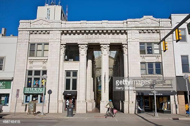 Columns at entrance to historic shopping arcade
