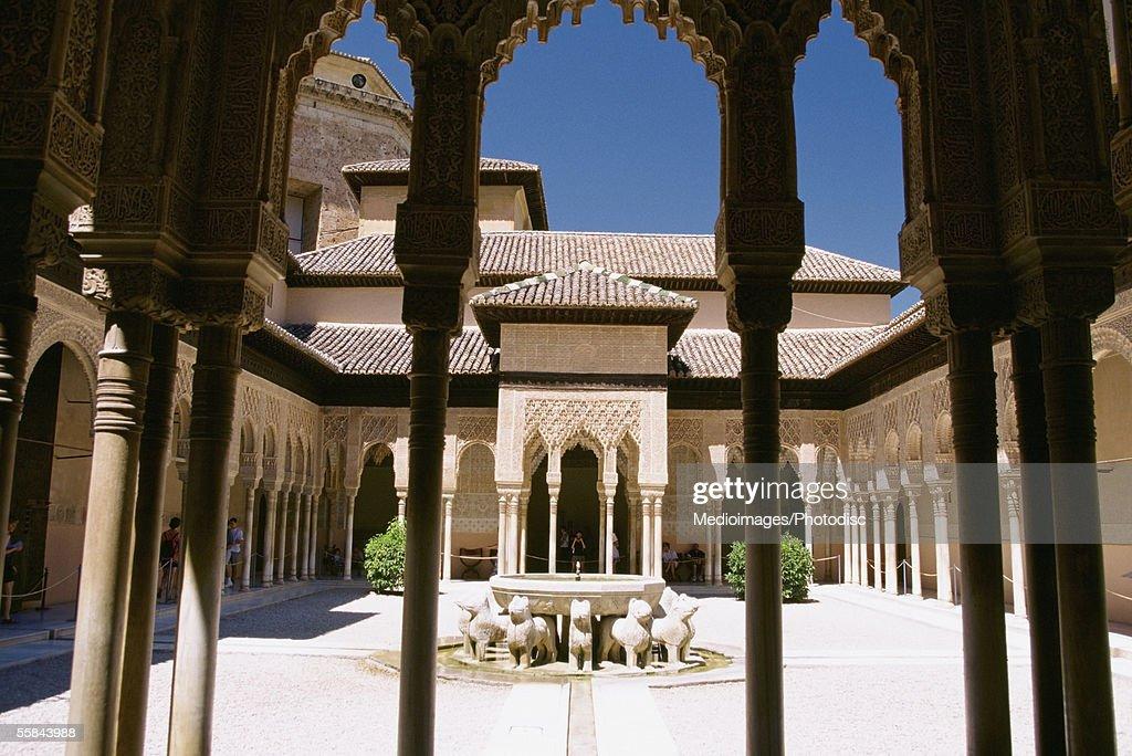 Columns in a building, Patio de los Leones, Alhambra, Granada, Spain