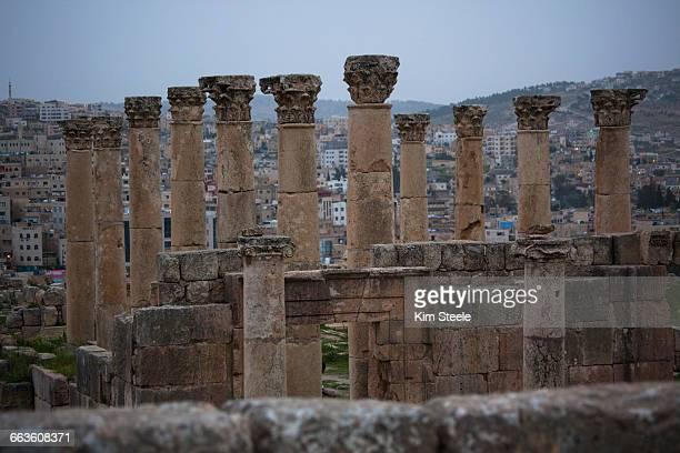 Columns in Forum, Artemis Temple, Jerash, Jordan