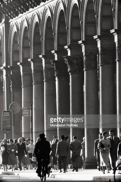 Columns in Piazza del Duomo in Milan This picture is taken from the monography 'Mario De Biasi Il mio sogno Š qui' curated by Enrica Vigan• published...