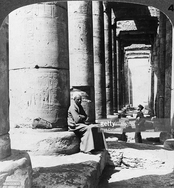 'Columns of the great temple of Sethos I Abydos Egypt' 1905 'This temple within which we are standing was built in the fourteenth century BC and...