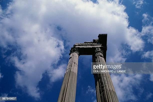 Columns of the Temple of Apollo Sosianus or Apollinar in Circo Rome's historic centre Italy