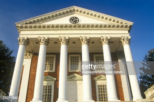 'Columns on building at University of Virginia inspired by Thomas Jefferson, Charlottesville, VA' : Foto stock