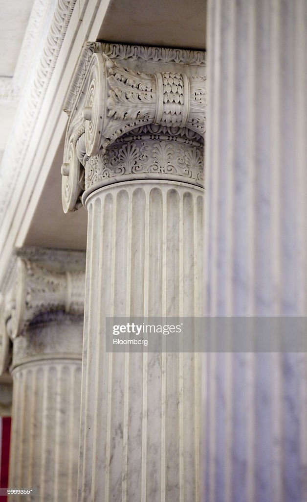 Columns stands in the Capitol building in Washington, D.C., U.S., on Monday, May 17, 2010. The Capitol is the meeting place for the Senate and House of Representatives. Photographer: Andrew Harrer/Bloomberg via Getty Images