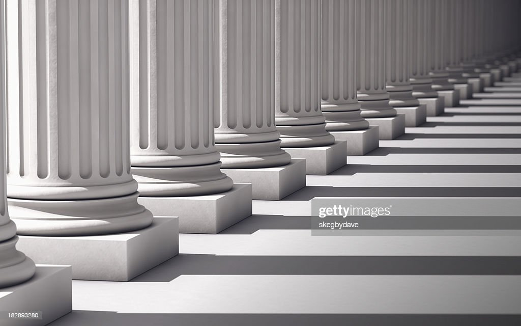Columns with shadows deep perspective