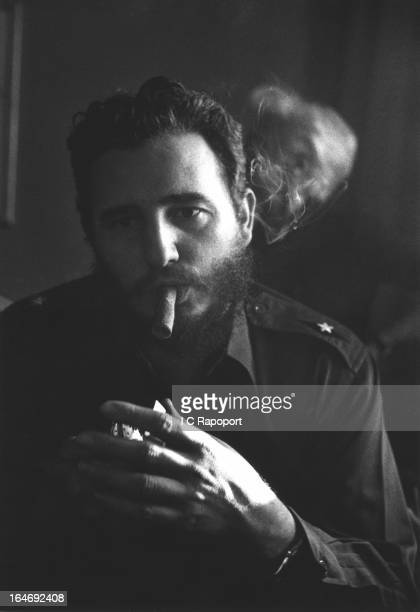 Comandante Fidel Castro the new leader of Cuba talks to reporters about his successful Cuban revolution to ouster Dictator Batista at a press...