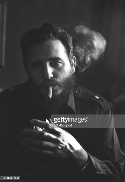 Comandante Fidel Castro the new leader of Cuba talks to reporters about his successful Cuban revolution to ouster Dictator Batista at a press...