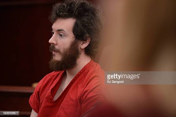 Aurora theater shooting suspect James Holmes in the courtroom during his arraignment Tuesday March 12 2013 District Court Judge William Sylvester...