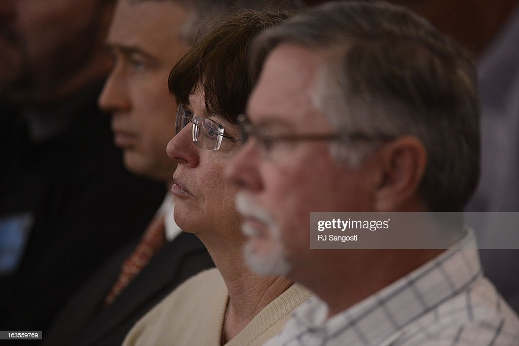 Aurora theater shooting suspect James Holmes' parents Arlene and Robert Holmes watch the proceedings for their son during his arraignment Tuesday March 12, 2013. District Court Judge William Sylvester entered a Not Guilty plea on behalf of Holmes. The trial is set to begin August 5, 2013. The arraignment for Aurora theater shooting suspect James Holmes for the July 20, 2012 shooting at the Century 16 theater in Aurora, CO that killed 12 people and injured 70 others.