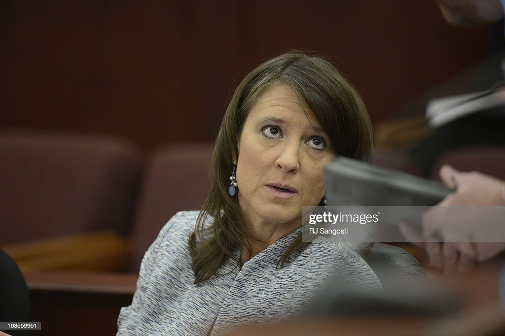 Defense attorney Tamara Brady in the courtroom during the arraignment for James Holmes Tuesday March 12, 2013. District Court Judge William Sylvester entered a Not Guilty plea on behalf of Holmes. The trial begins August 5, 2013. The arraignment for Aurora theater shooting suspect James Holmes for the July 20, 2012 shooting at the Century 16 theater in Aurora, CO that killed 12 people and injured 70 others.