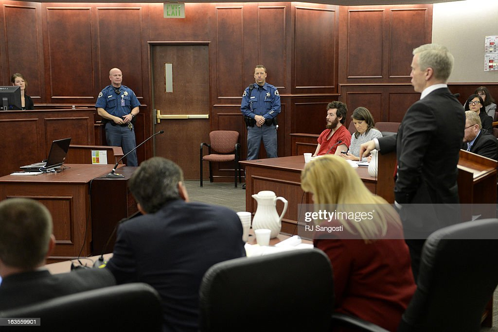 The prosecution team at their table during the proceedings where District Court Judge William Sylvester entered a Not Guilty plea on behalf of Holmes. The trial is set to begin August 5, 2013. The arraignment for Aurora theater shooting suspect James Holmes for the July 20, 2012 shooting at the Century 16 theater in Aurora, CO that killed 12 people and injured 70 others.