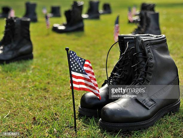 Combat boots are placed in formation representing America's POW/MIA.