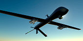 combat drone flying in the sky