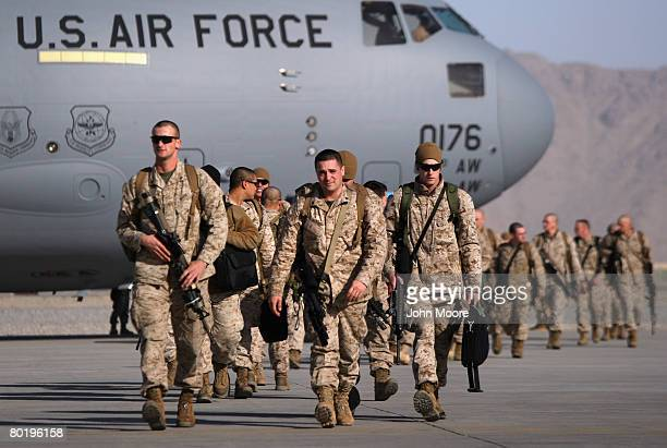 S combat forces from the 24th Marine Expeditionary Unit arrive March 11 2008 to the Kandahar Air Field in southern Afghanistan Regular Marine forces...