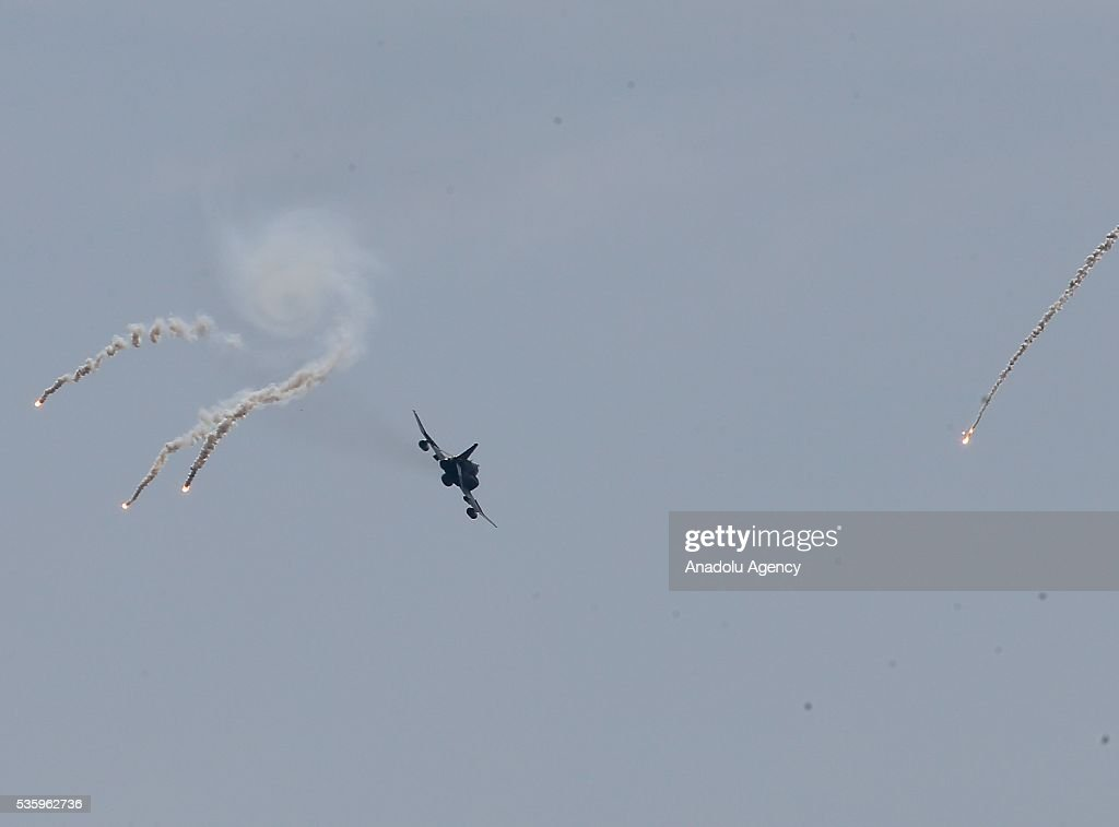 A combat plane is in action during the Efes-2016 Combined Joint Live Fire Exercise at Seferihisar district of Izmir, Turkey on May 31, 2016. The Turkish-led multinational military exercises, Efes-2016 which started at 04 May and will be finished at 04 June 2016, aims to train participating units and staff in planning and conducting combined and joint operations, including logistics and command-control as well as to improve the level of interoperability among headquarters and forces.