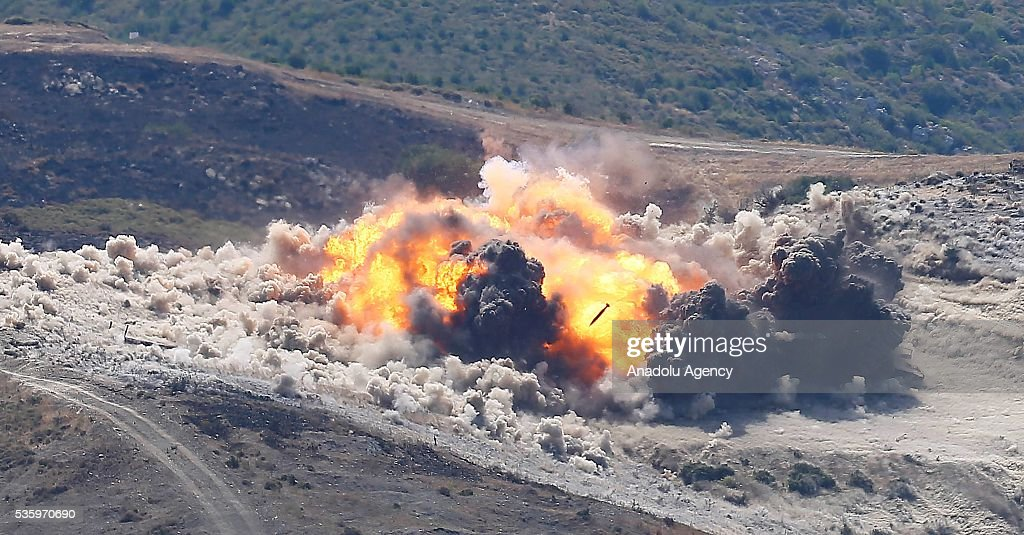 Combat planes bomb their targets during the Efes-2016 Combined Joint Live Fire Exercise at Seferihisar district of Izmir, Turkey on May 31, 2016. The Turkish-led multinational military exercises, Efes-2016 which started at 04 May and will be finished at 04 June 2016, aims to train participating units and staff in planning and conducting combined and joint operations, including logistics and command-control as well as to improve the level of interoperability among headquarters and forces.