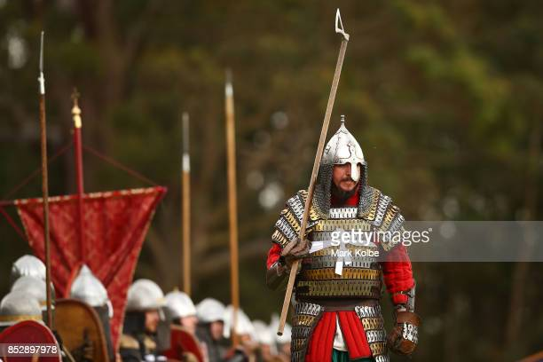 Combatants prepare to fight in the Viking Battle reenactment as part of the St Ives Medieval Faire on September 24 2017 in Sydney Australia The St...