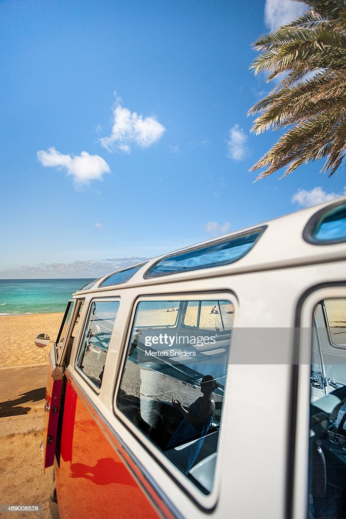VW Combi at sunset beach