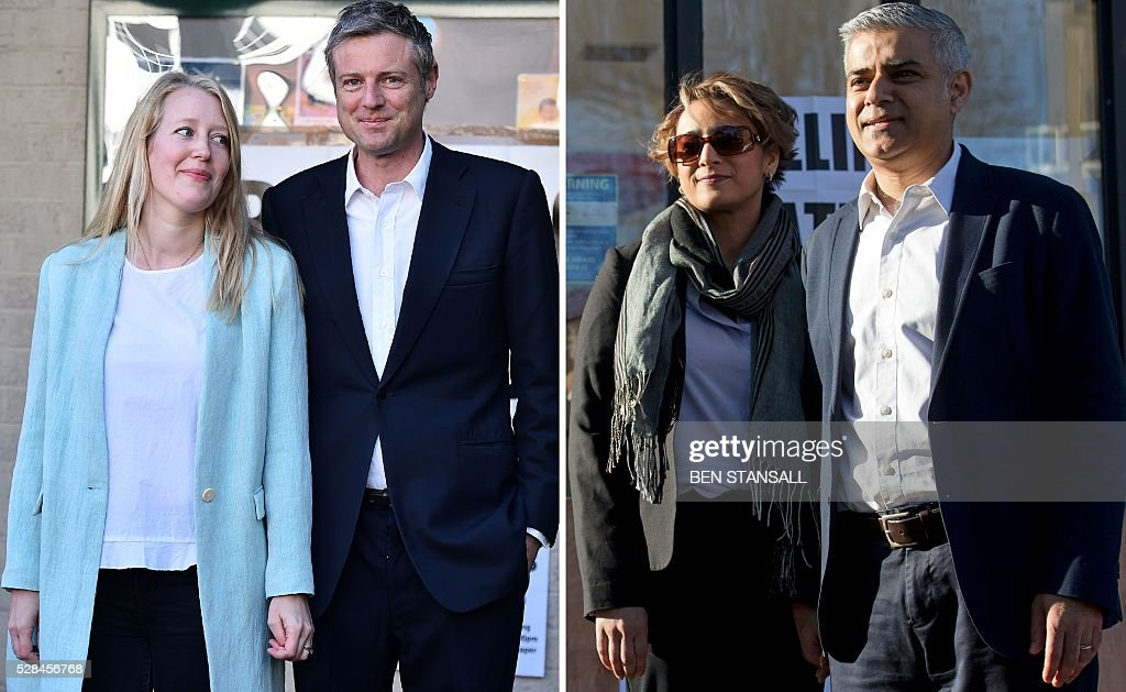 A combination image shows photographs taken on May 5, 2016, of (L-R) Conservative mayoral candidate Zac Goldsmith and wife Alice, and Britain's Labour party candidate for London Mayor Sadiq Khan and his wife Saadiya, as they leave after casting their votes at a Polling Stations in south-west and south London respectively. Londoners go to the polls on Thursday to elect their new mayor following a bitter campaign between the two leading candidates Labour's Sadiq Khan, and the Conservatives' Zac Goldsmith, that stayed ugly to the very end. While London chooses a new mayor, there are also elections to the Scottish, Welsh and Northern Irish assemblies, and 124 local authorities scattered across England. / AFP / BEN