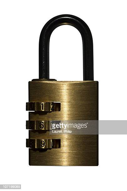 Combination lock against white background