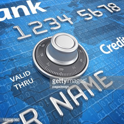 combination lock on credit card : Stock Photo