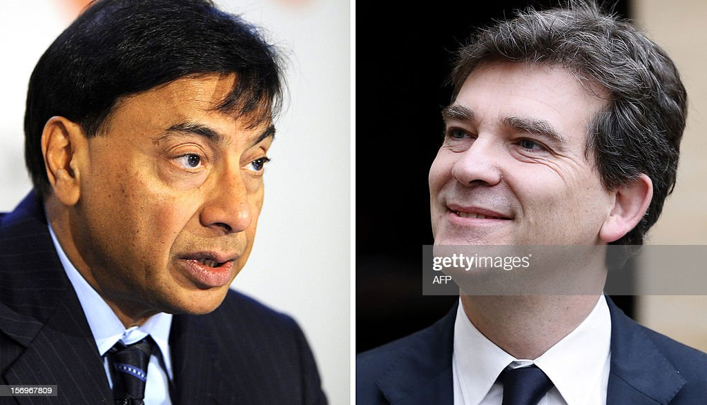 A combination made of AFP picture shows a file picture taken on February 8, 2011 in Luxembourg showing the chief excutive of the world's biggest steelmaker, ArcelorMittal, Lakshmi Mittal, and a file picture taken on October 26, 2012 in Paris showing French Minister for Industrial Renewal Arnaud Montebourg. The showdown between global steel giant ArcelorMittal and France over its Florange plant hit new heights on November 26, 2012 as a minister said the company was no longer welcome in the country. A source close to the matter said company chief Lakshmi Mittal was to meet President Francois Hollande on Tuesday ahead of a deadline Saturday for France to find a buyer for two shuttered blast furnaces at the site in northeast of the country. JEAN