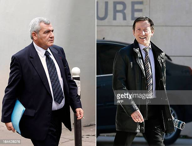 A combination made of file pictures on March 24 2013 shows Thierry Herzog lawyer of former French president Nicolas Sarkozy arriving at Paris...
