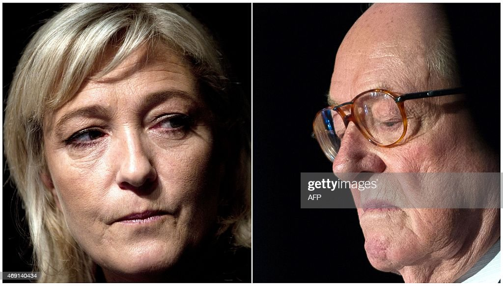 A combination made on April 10, 2015 shows files fictures of French far-right National Front (FN) party's president <a gi-track='captionPersonalityLinkClicked' href=/galleries/search?phrase=Marine+Le+Pen&family=editorial&specificpeople=588282 ng-click='$event.stopPropagation()'>Marine Le Pen</a> (L) taken on January 13, 2012 in Paris and Front National's honorary president <a gi-track='captionPersonalityLinkClicked' href=/galleries/search?phrase=Jean-Marie+Le+Pen&family=editorial&specificpeople=214017 ng-click='$event.stopPropagation()'>Jean-Marie Le Pen</a> (R) taken on May 15, 2014 in Vineuil.