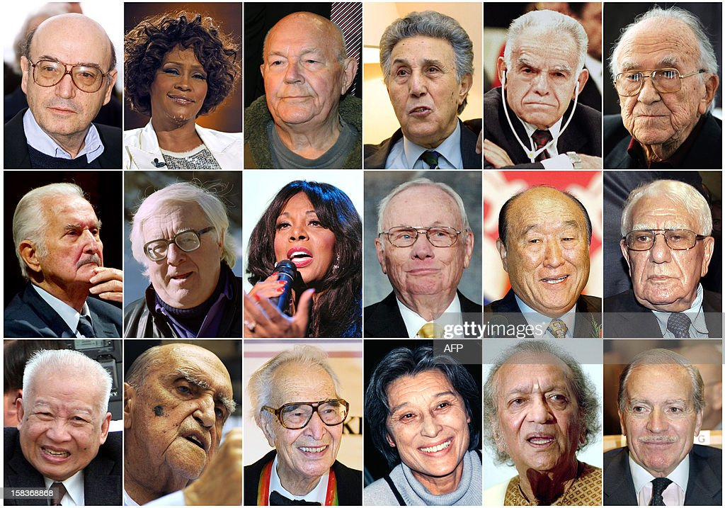 A combination made on December 14, 2012 shows files pictures of personalities who died in 2012 (From topL): Greek film director Theo Angelopoulos died on January 24, US pop legend Whitney Houston on February 11, Convicted Nazi guard John Demjanjuk on March 17, former Algerian President Ahmed Ben Bella on April 11, former Israeli Premier Yitzhak Shamir on June 30, Spanish former Secretary-General of the Spanish Communist Party Santiago Carrillo on September 18, Mexican writer Carlos Fuentes on May 15, US Science fiction writer Ray Bradbury on June 5, US singer Donna Summer on May 17, US astronaut Neil Armstrong on August 25, South Korean religious leader and founder of the Unification Church Sun-Myung Moon on September 2, former Algerian President Chadli Bendjedid on October 6, former Cambodian King Norodom Sihanouk on October 14, Brazilian architect Oscar Niemeyer on December 6, US Jazz legend Dave Brubeck on December 5, Chinese-born British writer Han Suyin on November 2, Indian sitar maestro Ravi Shankar on December 11 and French climber Maurice Herzog on December 14. AFP PHOTO / STAFF