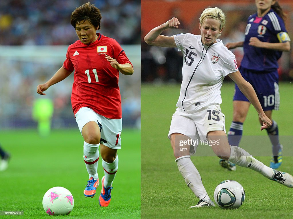 A combination made on February 28, 2013 shows a file picture taken on August 9, 2012 in London showing Japan's forward Shinobu Ohno (L) and a file picture taken on July 17, 2011 in Frankfurt showing USA's midfielder Megan Rapinoe.