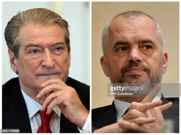 A combination made on June 23 2017 shows a picture taken on March 20 2012 in Budapest of then Albanian Prime Minister Sali Berisha and a picture...