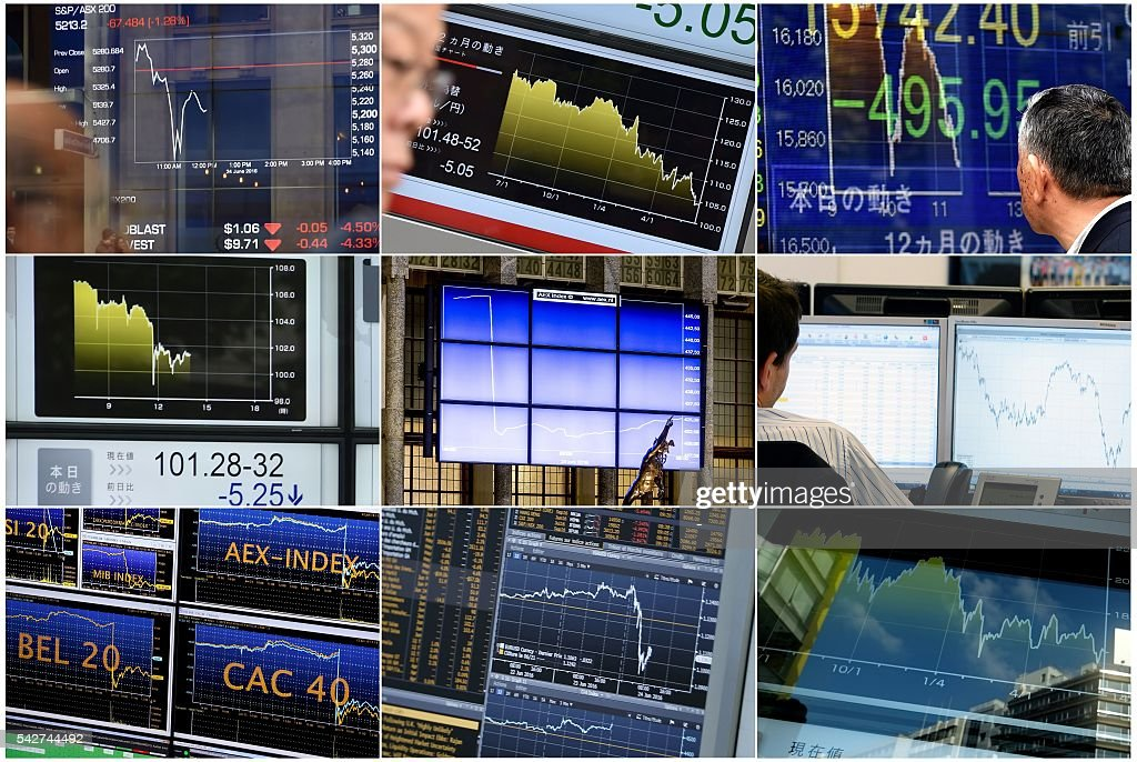 A combination made on June 24, 2016 shows monitors displaying exchange rates in Paris, Tokyo, Sydney and Amsterdam. Britain has voted to break out of the European Union, striking a thunderous blow against the bloc and spreading panic through world markets on June 24 as sterling collapsed to a 31-year low. / AFP / -