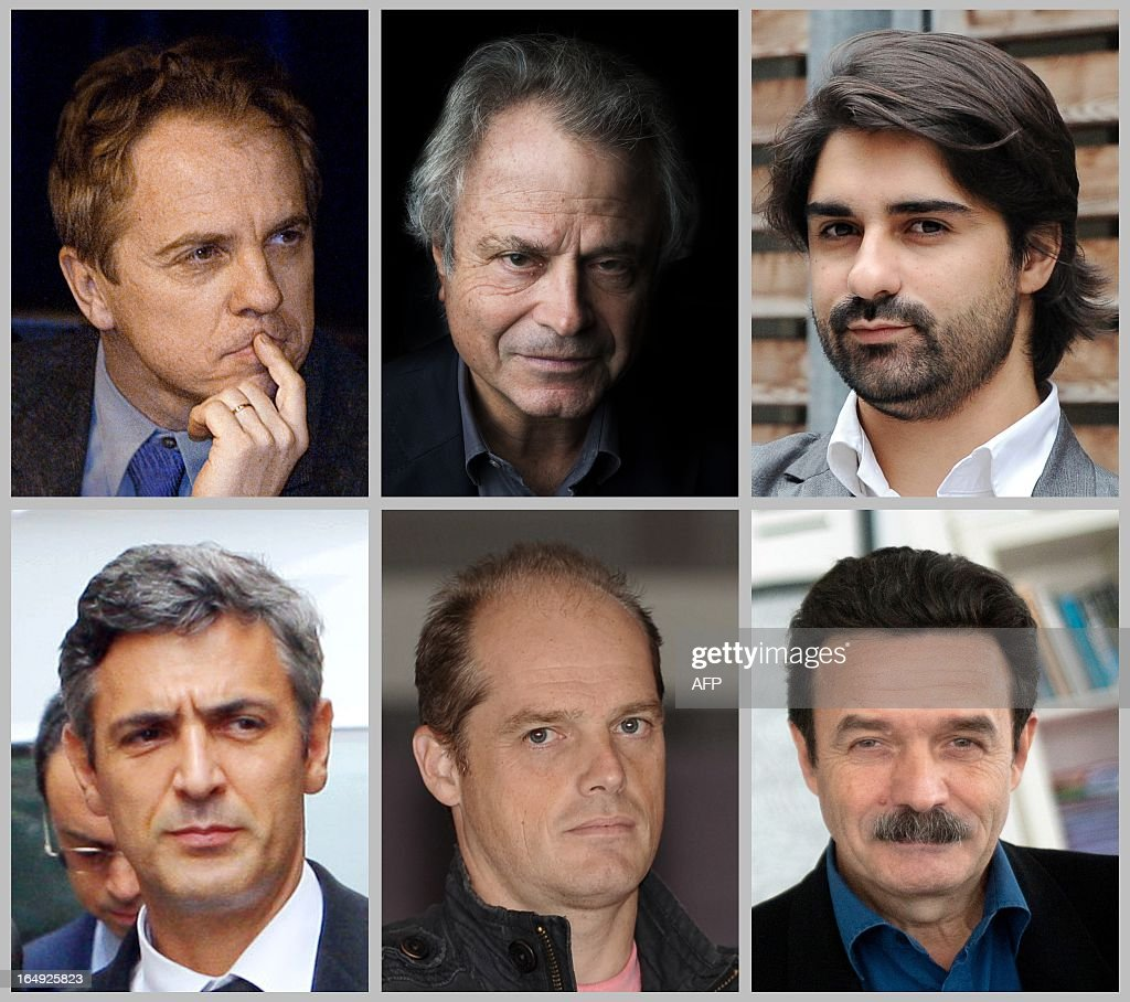 A combination made on March 29, 2013 shows files pictures (L-R, top to bottom) of French journalists Herv�� Gattegno (Le Monde), Franz-Olivier Giesbert (Le Point), Fabrice Arfi (Mediapart), Liliane Bettencourt's butler Pascal Bonnefoy, French journalists Fabrice Lhomme (Mediapart) and Edwy Plenel (Mediapart). Pascal Bonnefoy is charged with illegaly recording his employer and the five journalists with publishing the extracts and breach of privacy.