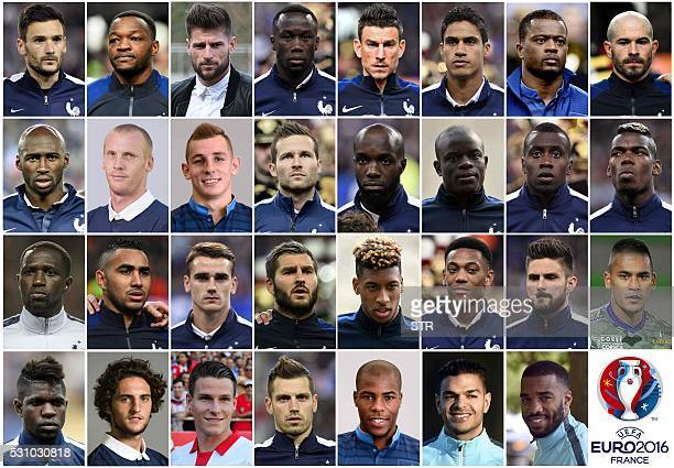 A combination made on May 12 2016 shows the pictures of the 31man provisional squad for the Euro 2016 European football championships a 23man squad...