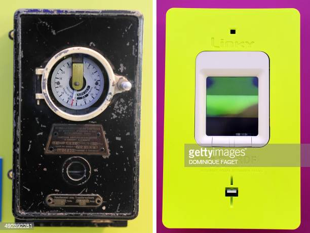 A combination made on May 20 2014 in Paris shows two pictures one showing an electric meter of 1910 and the other the new 'smart' electric meter...
