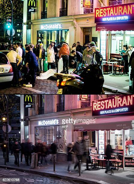 A combination made on November 12 2016 shows a file picture taken of people covering a body in front of a McDonald's restaurant near the Cafe Bonne...