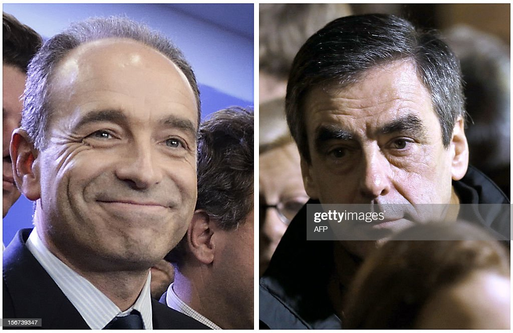 A combination made on November 20, 2012 shows file pictures of French Union for a Popular Movement (UMP) right-wing party's general secretary and candidate for its presidency, Jean-Francois Cope (L), taken on November 19, 2012 and former Prime Minister and candidate for UMP's presidency Francois Fillon (R) taken on November 18, 2012 in Paris. Jean-Francois Cope defeated former prime minister Francois Fillon by a handful of votes on November 19, 2012 to take the helm of France's right-wing UMP party after an election that saw both sides trade accusations of fraud and left the opposition in disarray. FEFERBERG