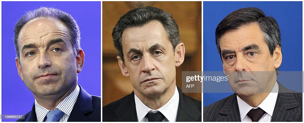 A combination made on November 26, 2012 shows three file pictures, one taken on July 2, 2012 showing outgoing UMP general secretary Jean-Francois Cope (L), the other one of former French President Nicolas Sarkozy taken March 9, 2012 in Nice, and the last one of former French Prime minister Francois Fillon taken on September 22, 2011 in Paris. Ex-president Nicolas Sarkozy was set on November 26, 2012 to wade into a bitter leadership battle that is threatening the future of France's main right-wing opposition party, the UMP. AFP PHOTO / THOMAS SAMSON / VALERY HACHE / JACQUES DEMARTHON