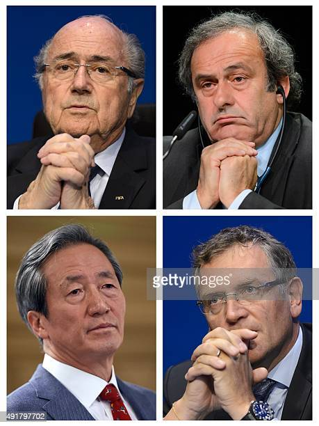 A combination made on October 8 2015 shows four pictures showing Fifa president president Sepp Blatter on May 30 2015 in Zurich UEFA leader Michel...