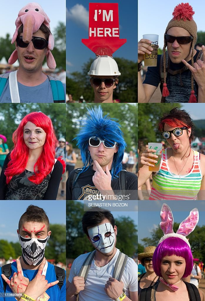 A combination of 9 pictures made on July 5, 2013 shows portraits of festival-goers on the second day of the Eurockeennes' music festival in the French eastern city of Belfort.