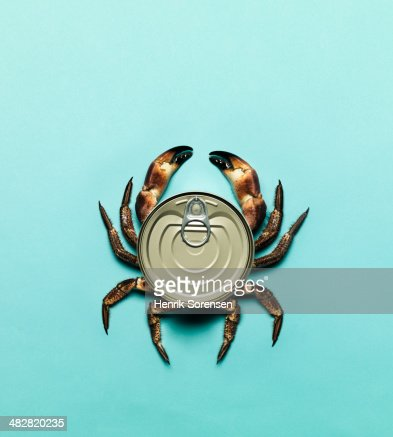 Combination of a can and a crab